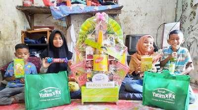 Duh.. Cerianya 4 Yatim Bersaudara Asal Pekanbaru Terima Parsel Dari Rumah Yatim Riau